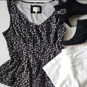Anthro [Deletta] Black and White Peplum Top